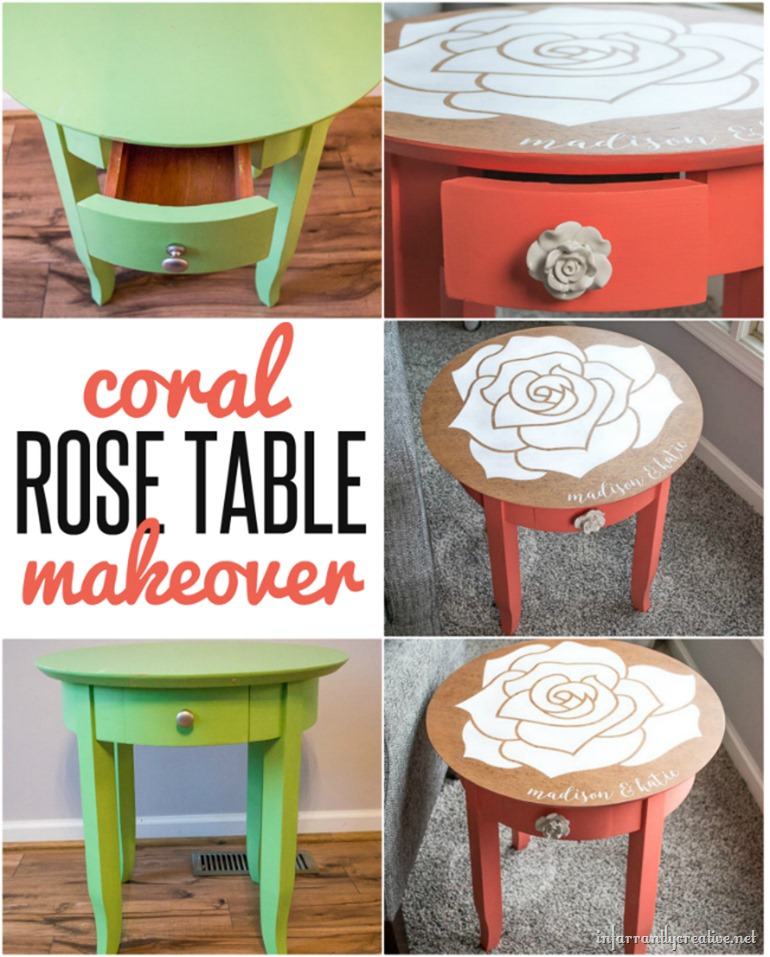 DIY FURNITURE MAKEOVER | Coral rose table
