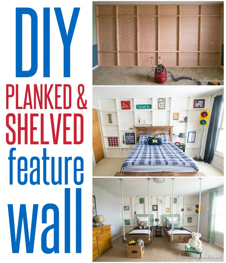 DIY planked and shelved feature wall