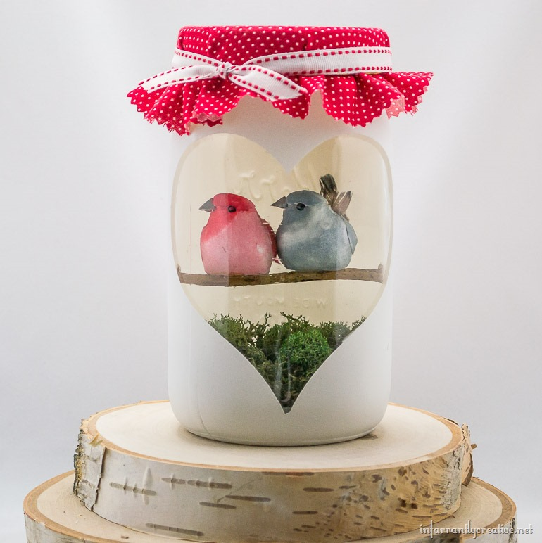 Valentine's Day Love Birds Mason Jar