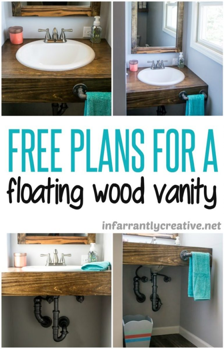 Floating Wood Bathroom Vanity DIY