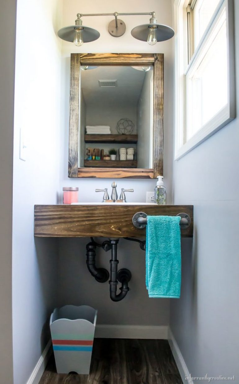floating wood vanity DIY