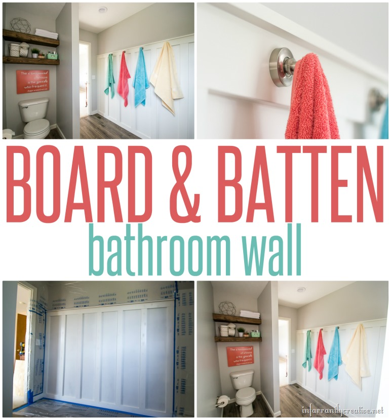 Unique Board and Batten Bathroom Wall with Towel Display Hooks