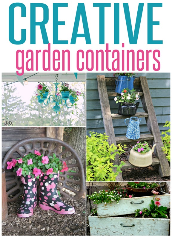 Creative Flower Pot Ideas ~ Think outside the traditional planter with these creative repurposed planter ideas! You probably have items in your home you could upcycle into a planter!