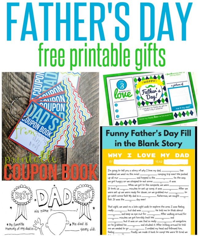image relating to Father's Day Fill in the Blank Printable titled Cost-free Fathers Working day Printable Reward Strategies - Infarrantly Resourceful