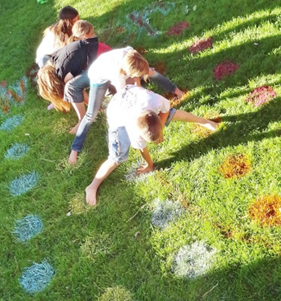 Paint colored circles in your lawn to make an outdoor Twister game!