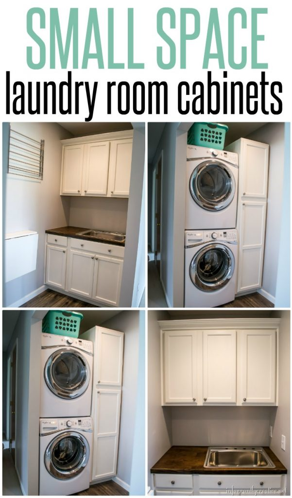 Laundry Room Cabinets {Small Space Laundry Room Area}   Infarrantly Creative