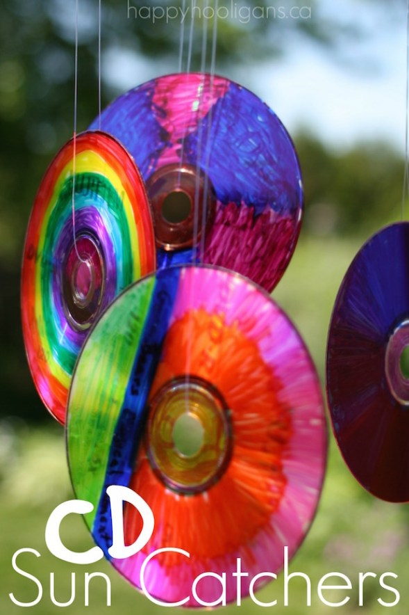 Repurpose old CDs into colorful sun catchers!