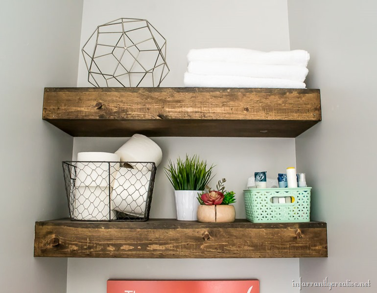 floating shelves in a bathroom