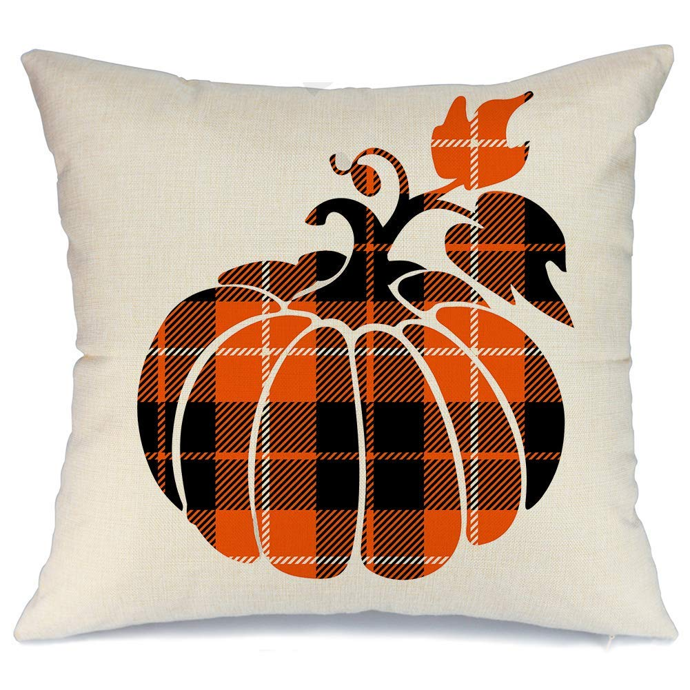 buffalo check pumpkin pillow case