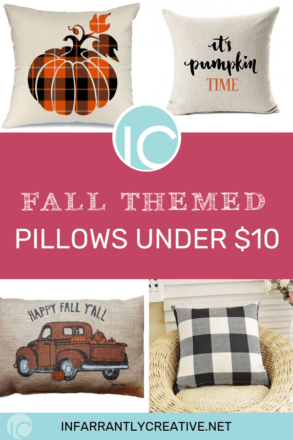 fall themed pillows for under $10 pumpkins buffalo check