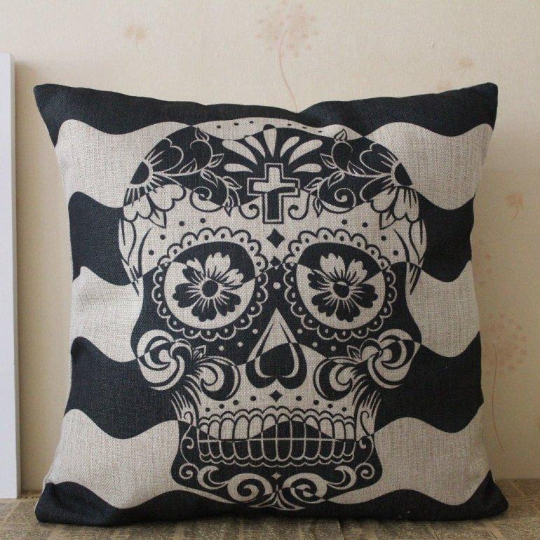 black skull amazon halloween pillow cover