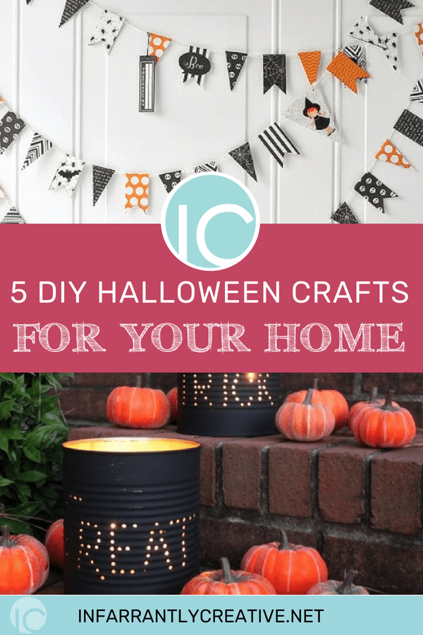 5 halloween crafts banner and luminaries