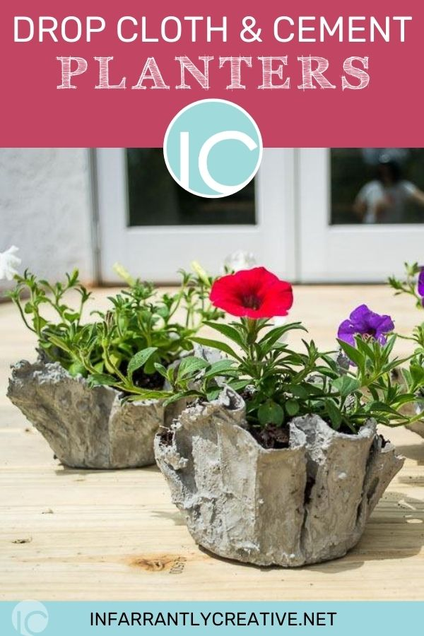 cement planters with flowers