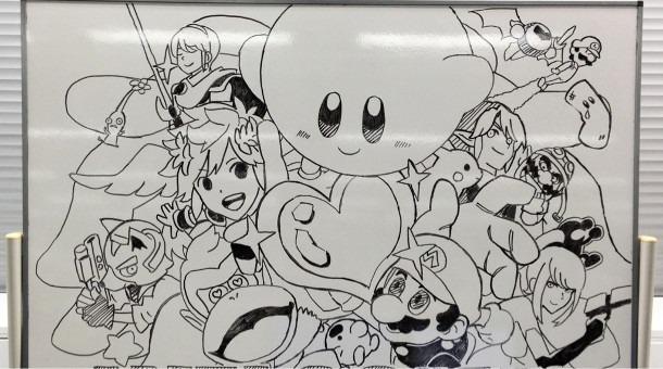 Sakurai whiteboard Smash Bros. drawing