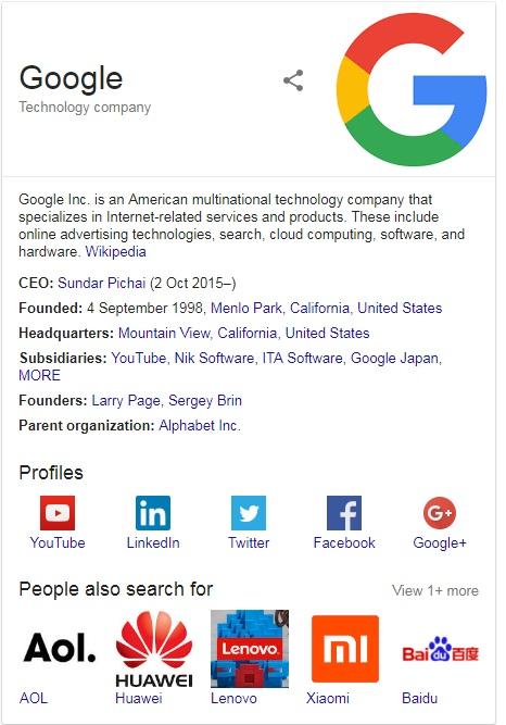 Google inc Google knowledge graph