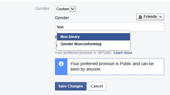 Facebook Custom Gender Option