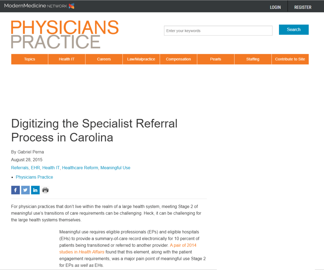 Physicians Practice Article About Wake Med and Referral Management