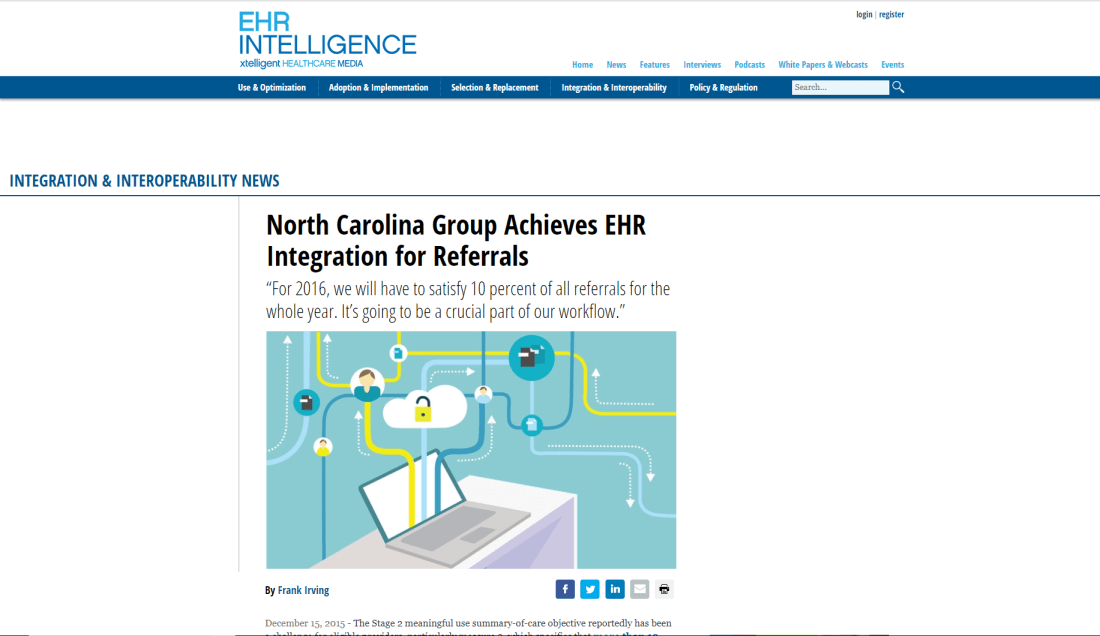 EHR Intelligence Article About Infina Connect Written By Mark Hefner, CEO
