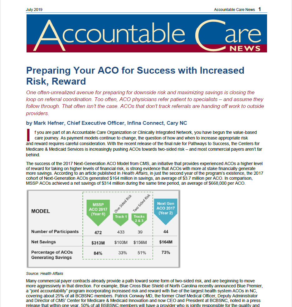 Accountable Care News Article Written by Mark Hefner CEO, Infina Health