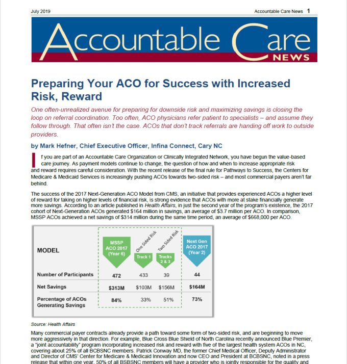 Preparing Your Aco For Success With Increased Risk Reward Infina Connect Referral Management