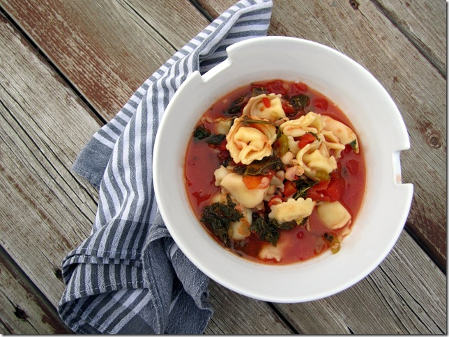 tortellini and bean soup with kale
