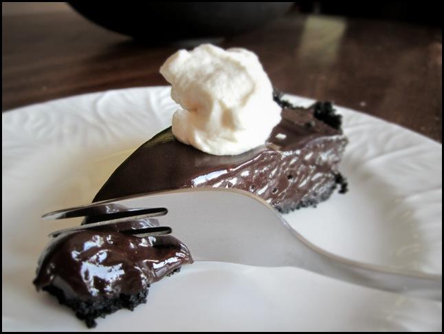 chocolate truffle tart on a plate