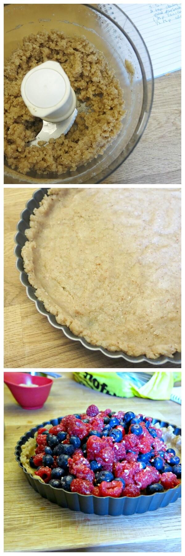 making vegan berry almond tart step by step