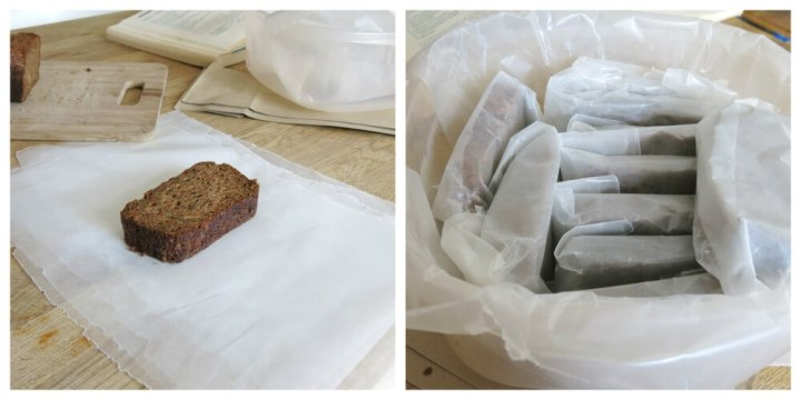 how to pack zucchini bread for freezing and school lunches. individually wrapped sliced of bread