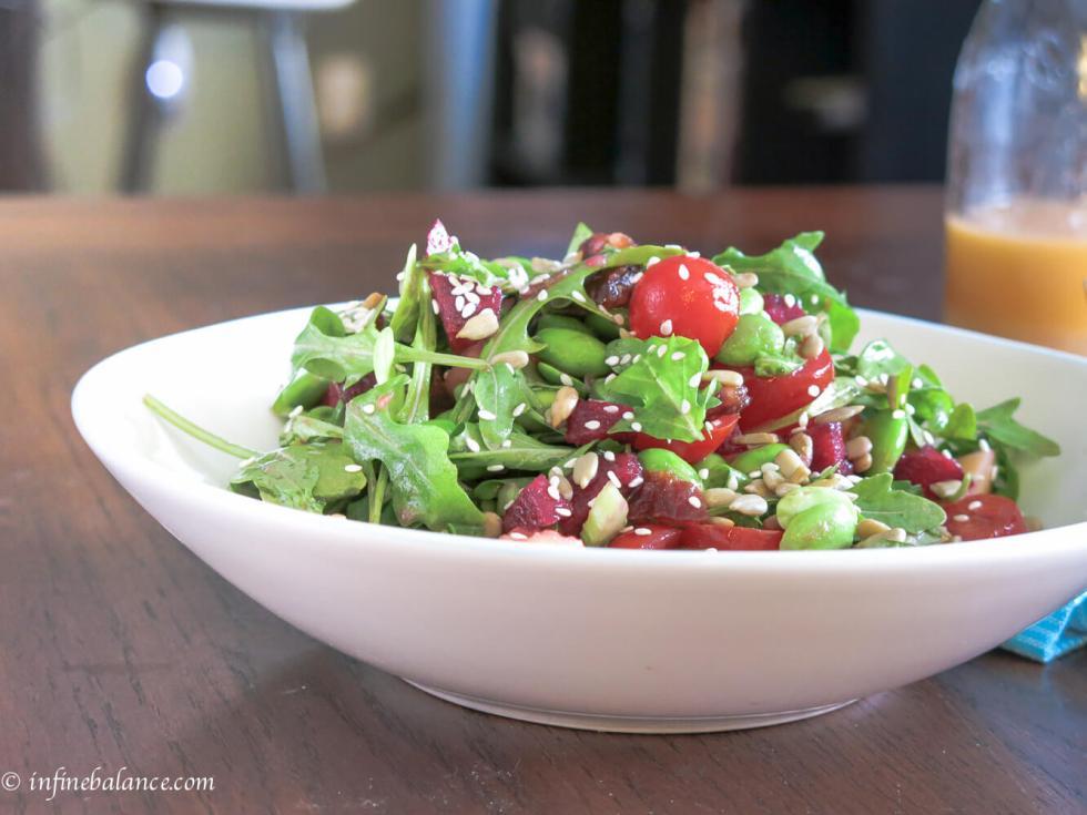arugula and edamame salad with ruby red vinaigrette