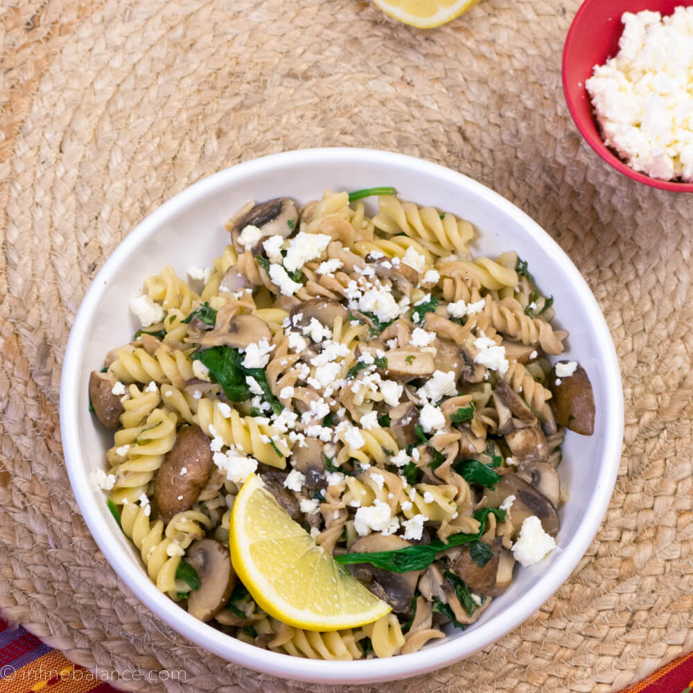 Dinner in 30: Fusilli with Mushrooms and Feta