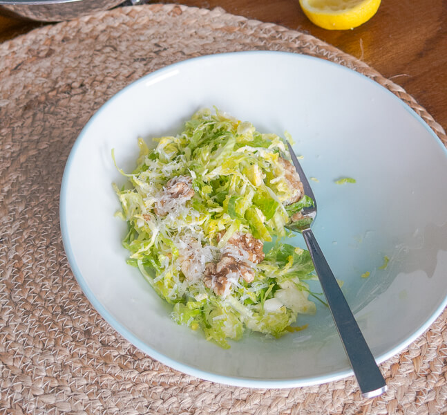 A winter salad: Brussels Sprouts, Walnuts and Parmesan