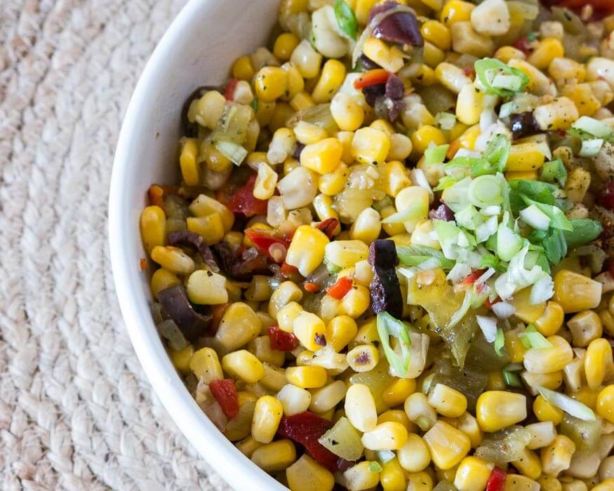 frozen sweet corn salad with olives and green chilis