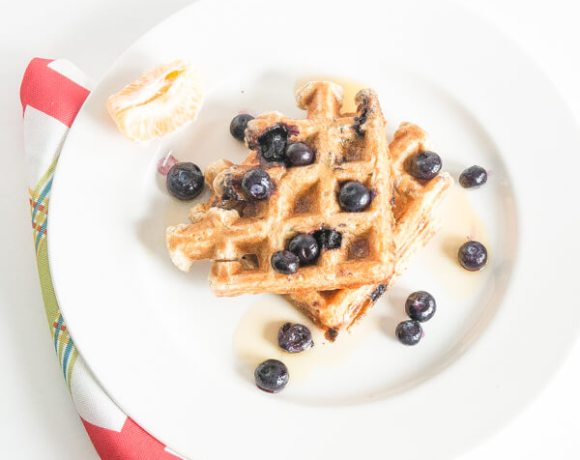 Whole Wheat and Blueberry Waffles | www.infinebalance.com #breakfast #recipe