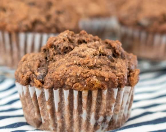 Double Chocolate Whole Wheat Banana Muffins | www.infinebalance.com #vegan #recipe