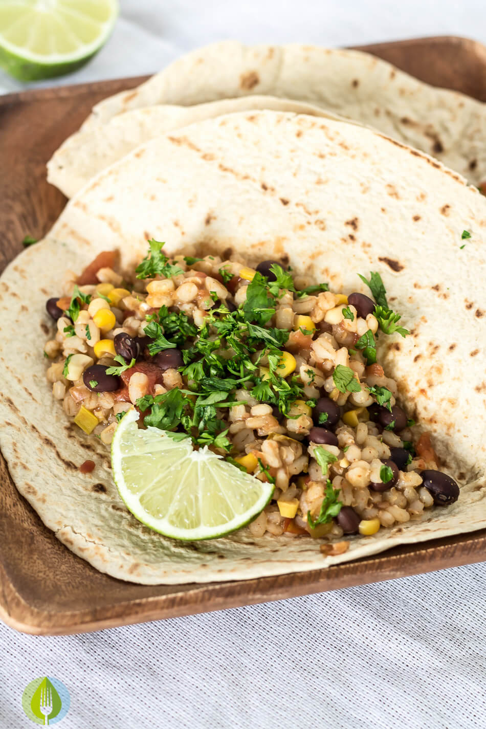 Slow Cooker Black Bean and Barley Burritos