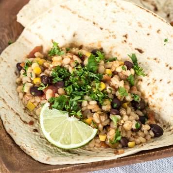 Slow Cooker Black Bean and Barley Burritos | www.infinebalance.com #vegan #recipe