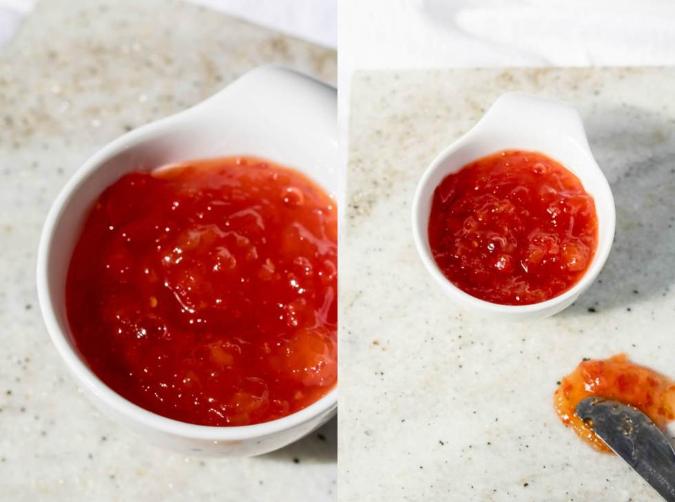 a collage of red pepper jam in a small white bowl with close up