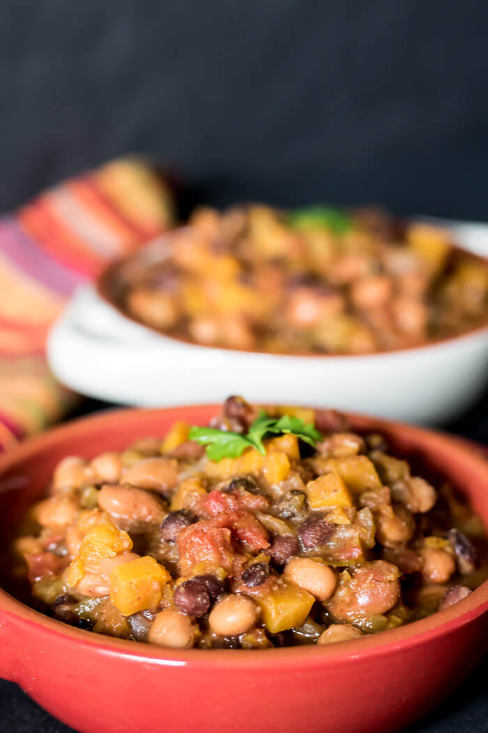 Vegan Butternut Chili in a red bowl