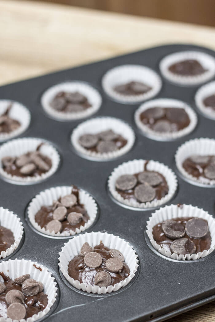 mini nutella brownies with chocolate chips and dark chocolate chips ready for baking