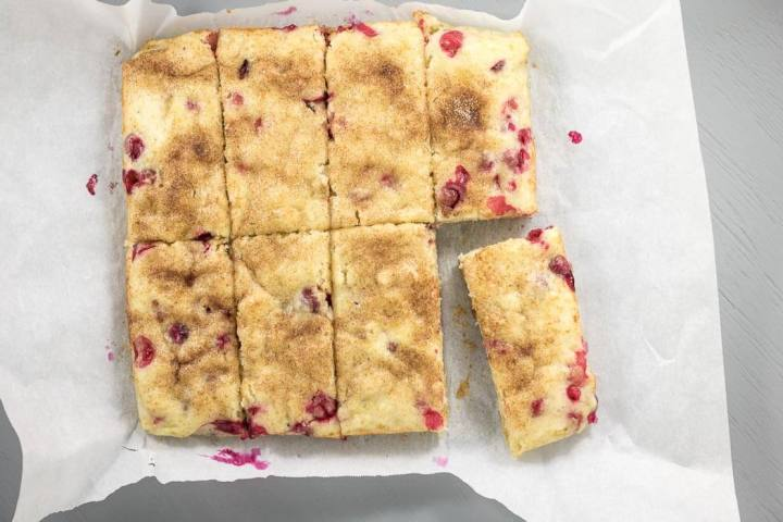 cranberry snack cake on parchment paper, top view
