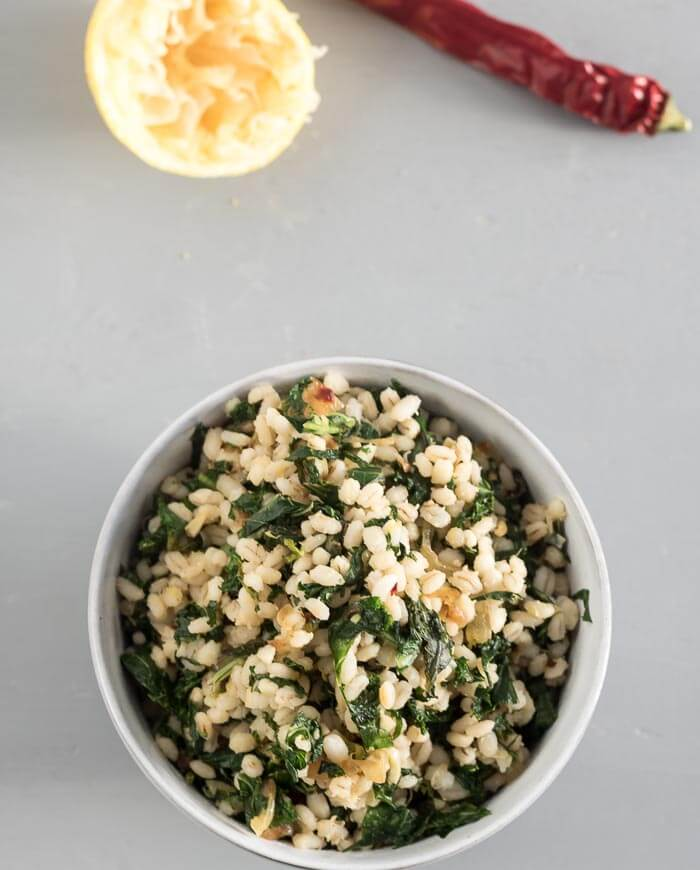 barley and kale, lemon, chili peppers and garlic