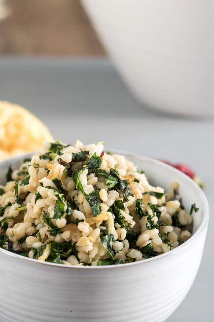 Barley with Lemon and Kale in a bowl