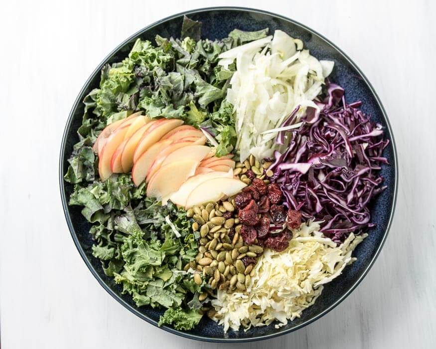 Apple and Kale Salad with Sweet Garlic Dressing