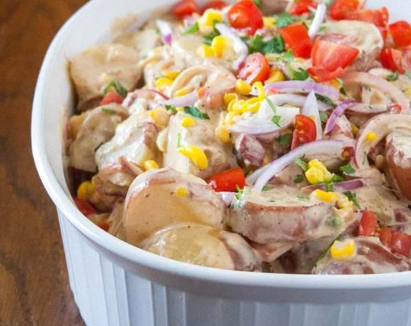 summer potato salad with swet corn