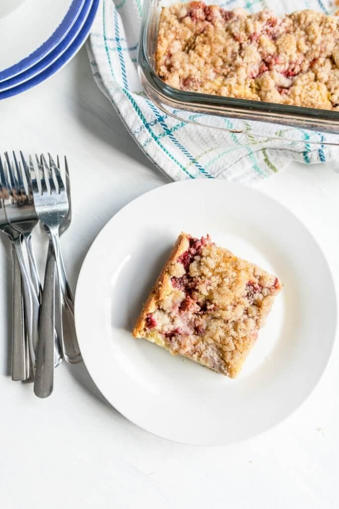 Strawberry Rhubarb Coffee Cake on a plate top view