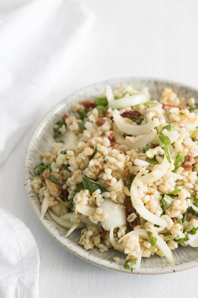 sweet onion salad with barley