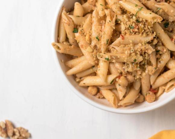 olive and chickpea pasta with toasted breadcrumbs and walnuts