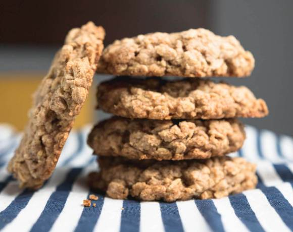 a stack of granola cookies