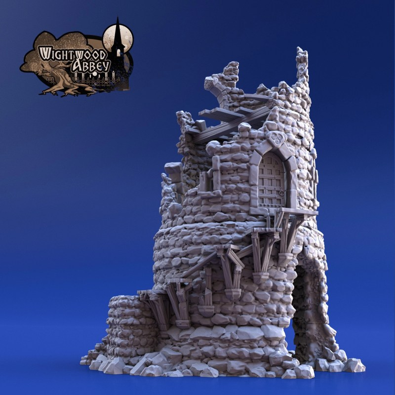 3D printable ruined tower
