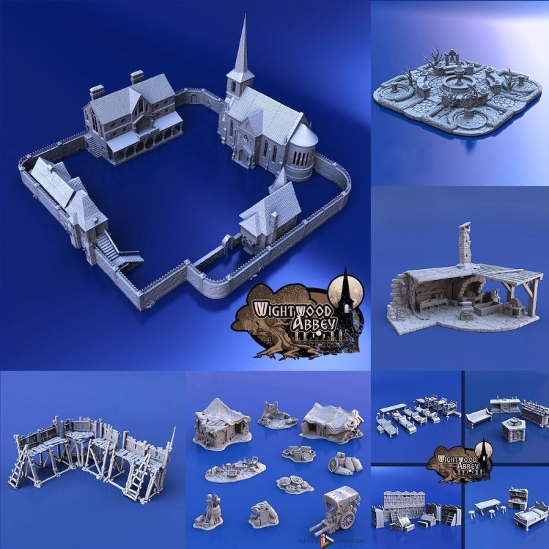 3D Printable Medieval Abbey